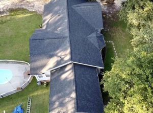 overhead shot of home with asphalt shingle roof in hampstead nc