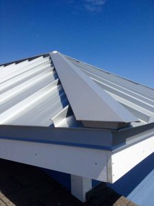 Hip joint of metal roof installed in WIlmington NC