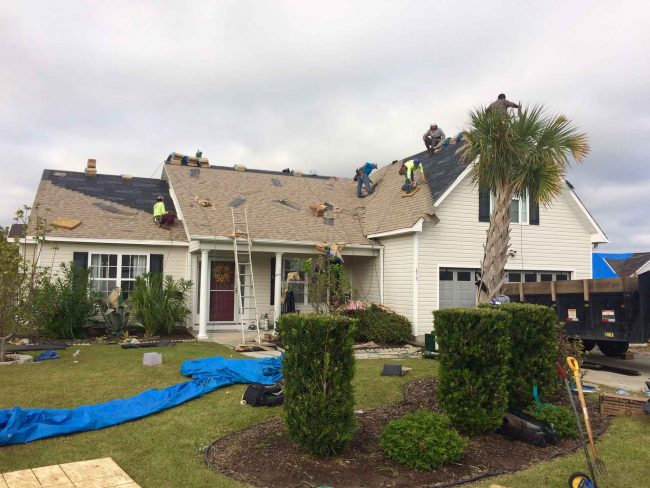 Roofing repair on home in wilmington nc