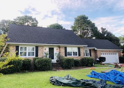 asphalt shingle roof on brick ranch home in wilmington nc